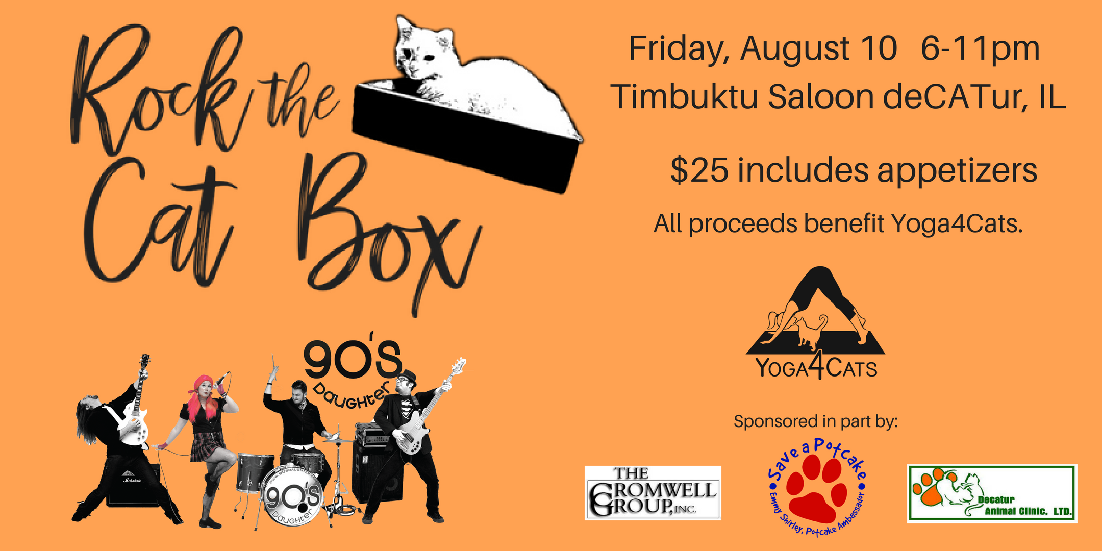 Tickets: $25 includes heavy appetizers - On sale now online  https://rockthecatbox.eventbrite.com  or at Timbuktu!  RSVP on Facebook