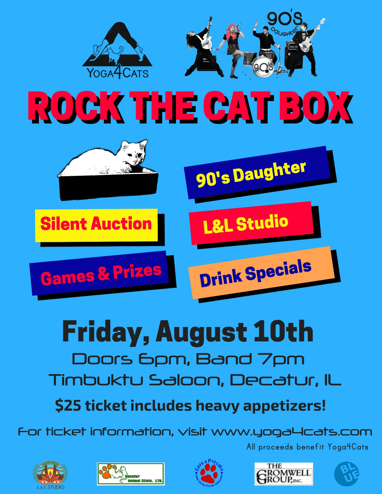 Mark your calendar for * ROCK THE CAT BOX * on Friday, August 10th at  TIMBUKTU SALOON . Featuring live music from  90s Daughter ,  L & L Studio 's pop up stamp shop, silent auction, games with awesome prizes, drink specials, and heavy appetizers.  Tickets available now: at Timbuktu or  https://rockthecatbox.eventbrite.com
