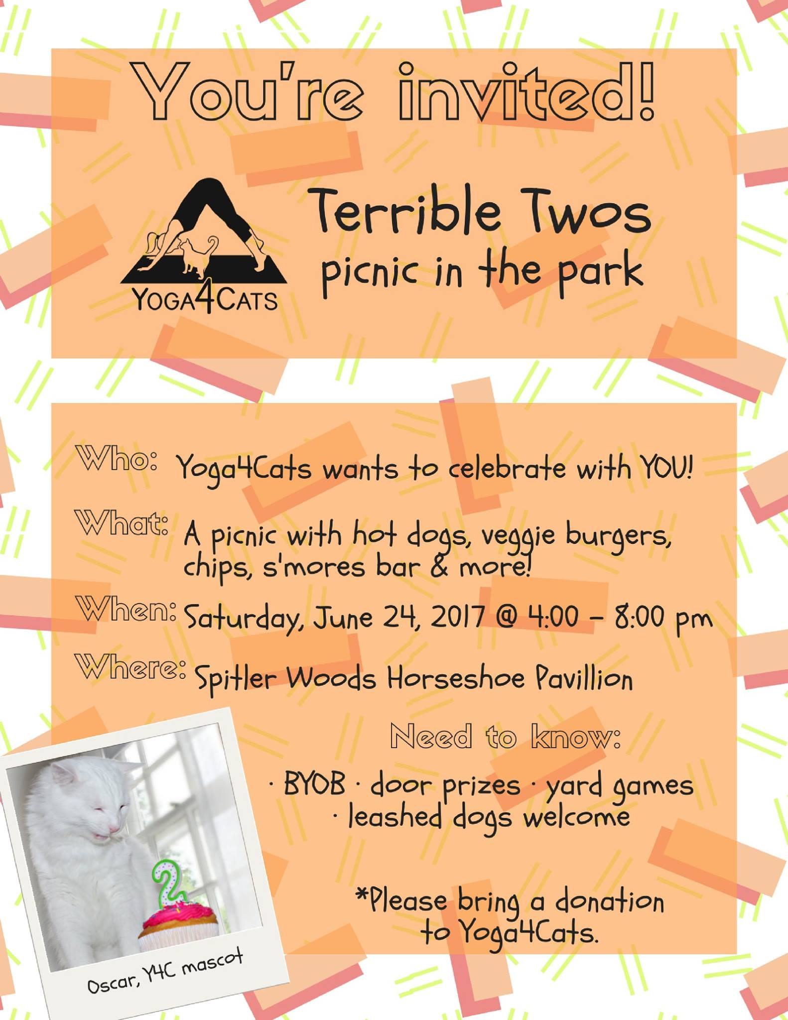 Terrible Twos - Picnic in the Park!  Join us for as we celebrate our Terrible Twos - the second anniversary of our premiere & namesake  Yoga4Cats event .