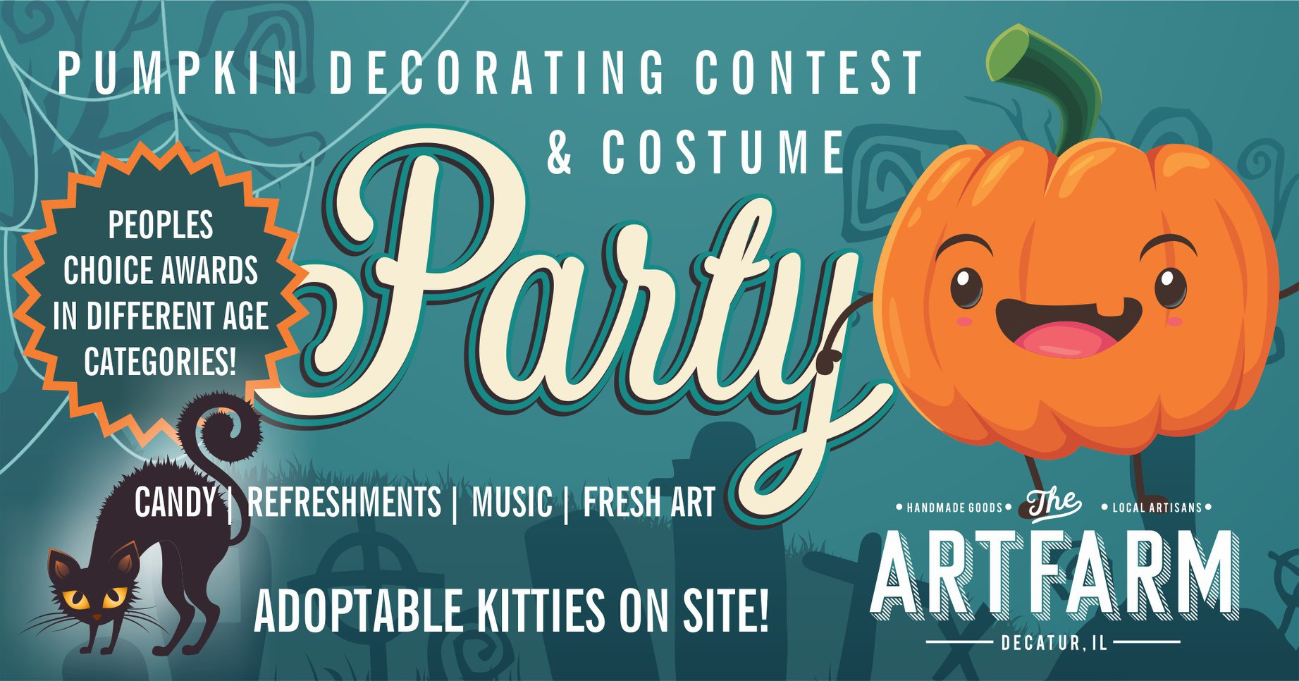 Friday, October 26th - 5-7:30 pm:  The ArtFarm Decatur  has planned a costume party & pumpkin decorating contest to benefit Yoga4Cats. Make plans to join in the fun, we'll bring the kitties!   Visit the Art Farm in downtown Decatur to vote for your favorite pumpkin. Costumes encouraged, refreshments, music, fresh art & adoptable kitties on site!
