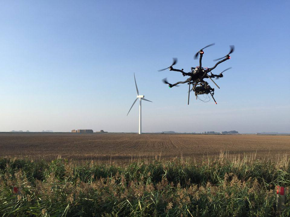 drone filming wind farm