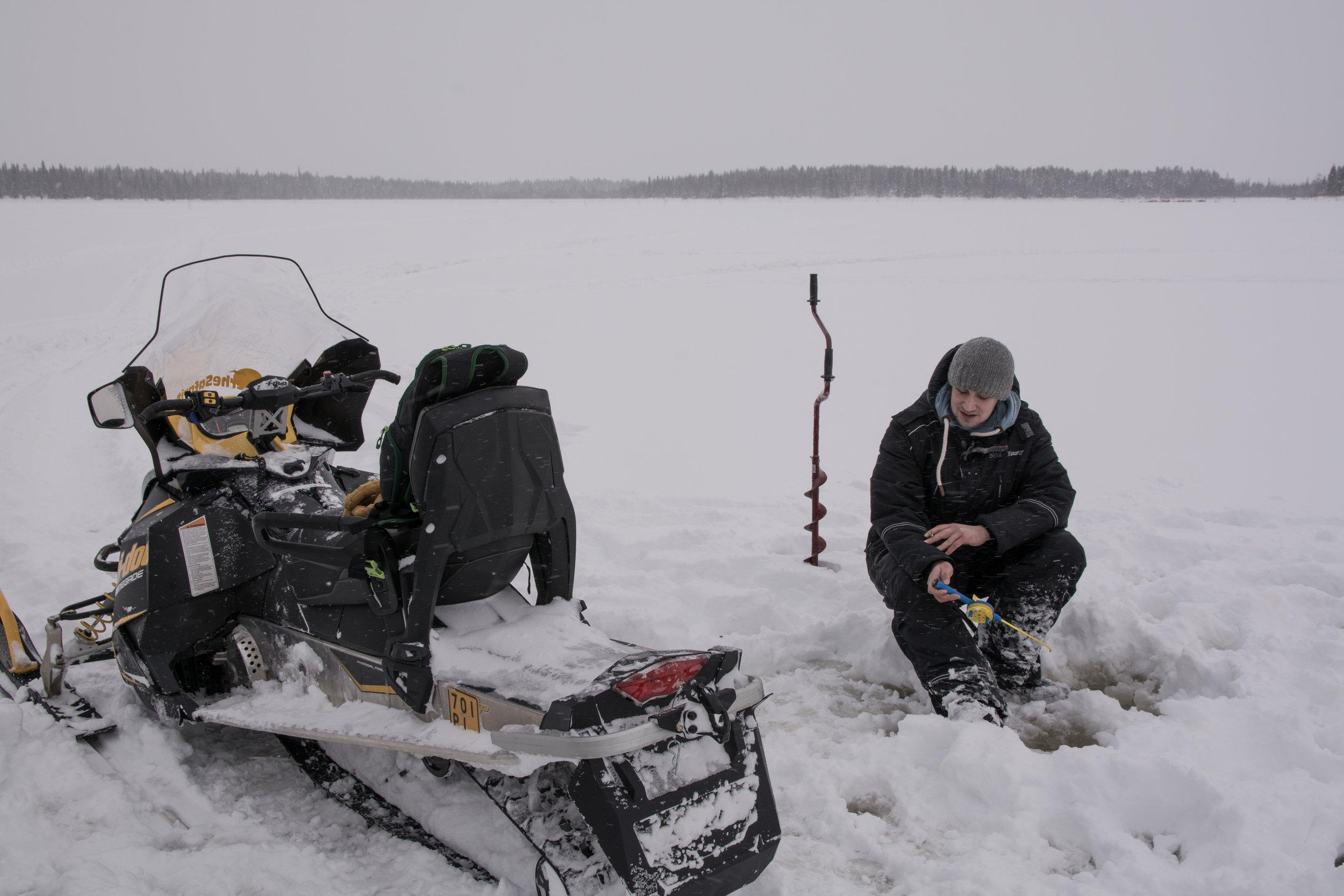 Ice fishing is one way to kill time