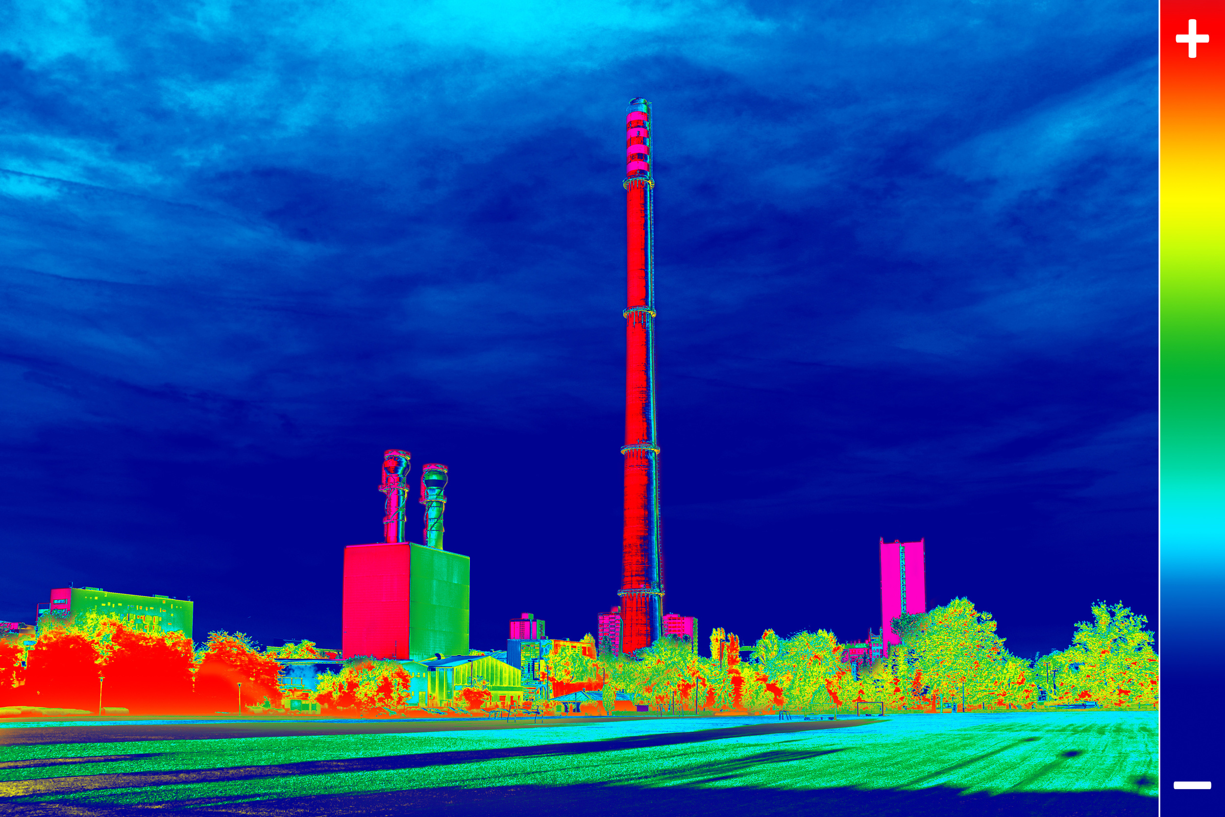 infrared image of power plant