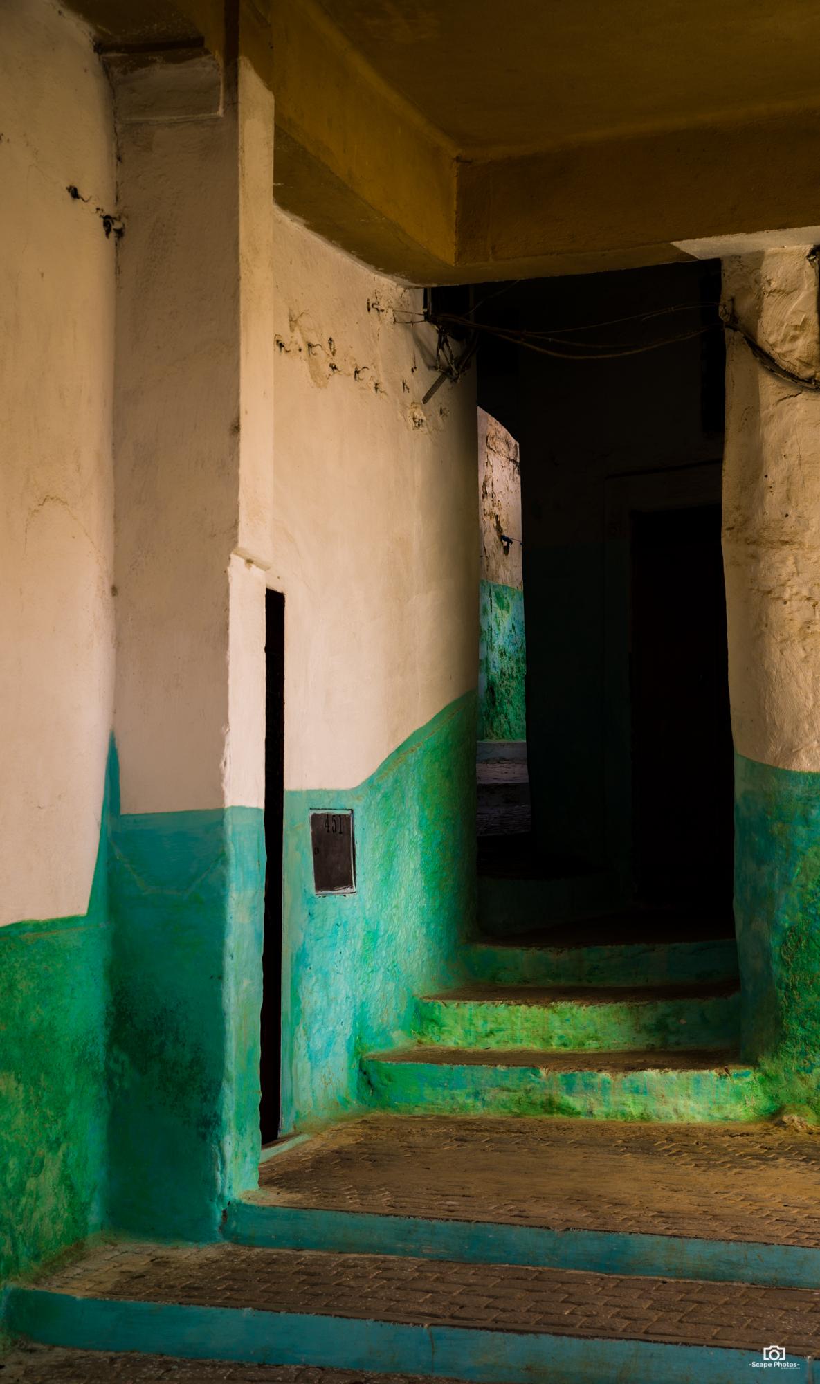 De groen en wit gekleurde muren van Moulay idriss.