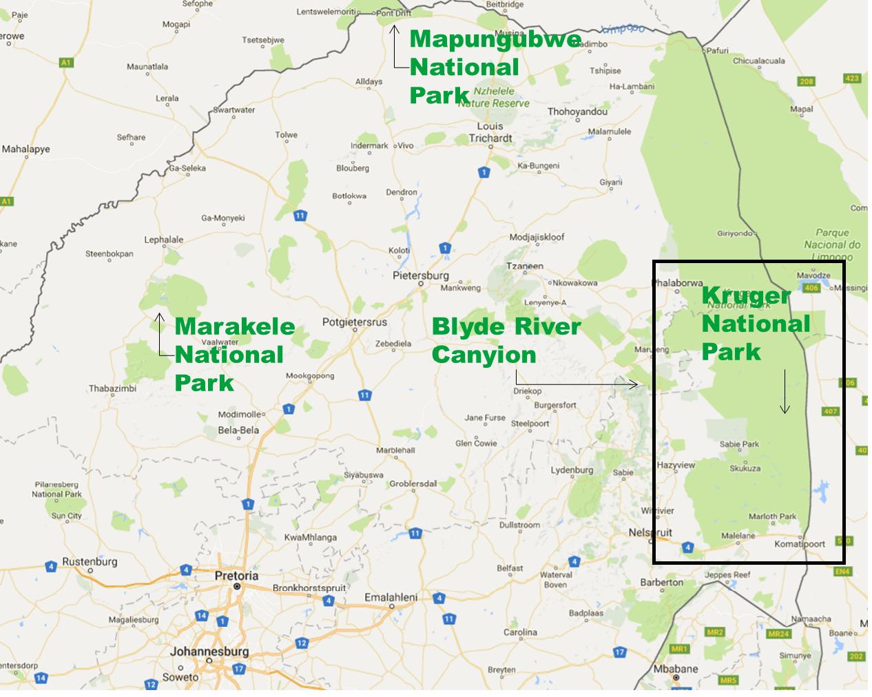 De laatste locatie van onze reis: Kruger National Park