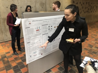 Alexa--multitasking between explaining bacterial rigidity sensing, and enjoying her pizza to poster enthusiasts...