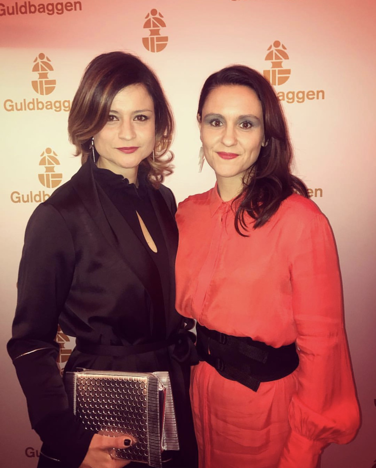 Power ladies & TV-producers Josefin Tengblad and Sandra Harms both dressed in Emilie Book at Guldbaggegalan 2018