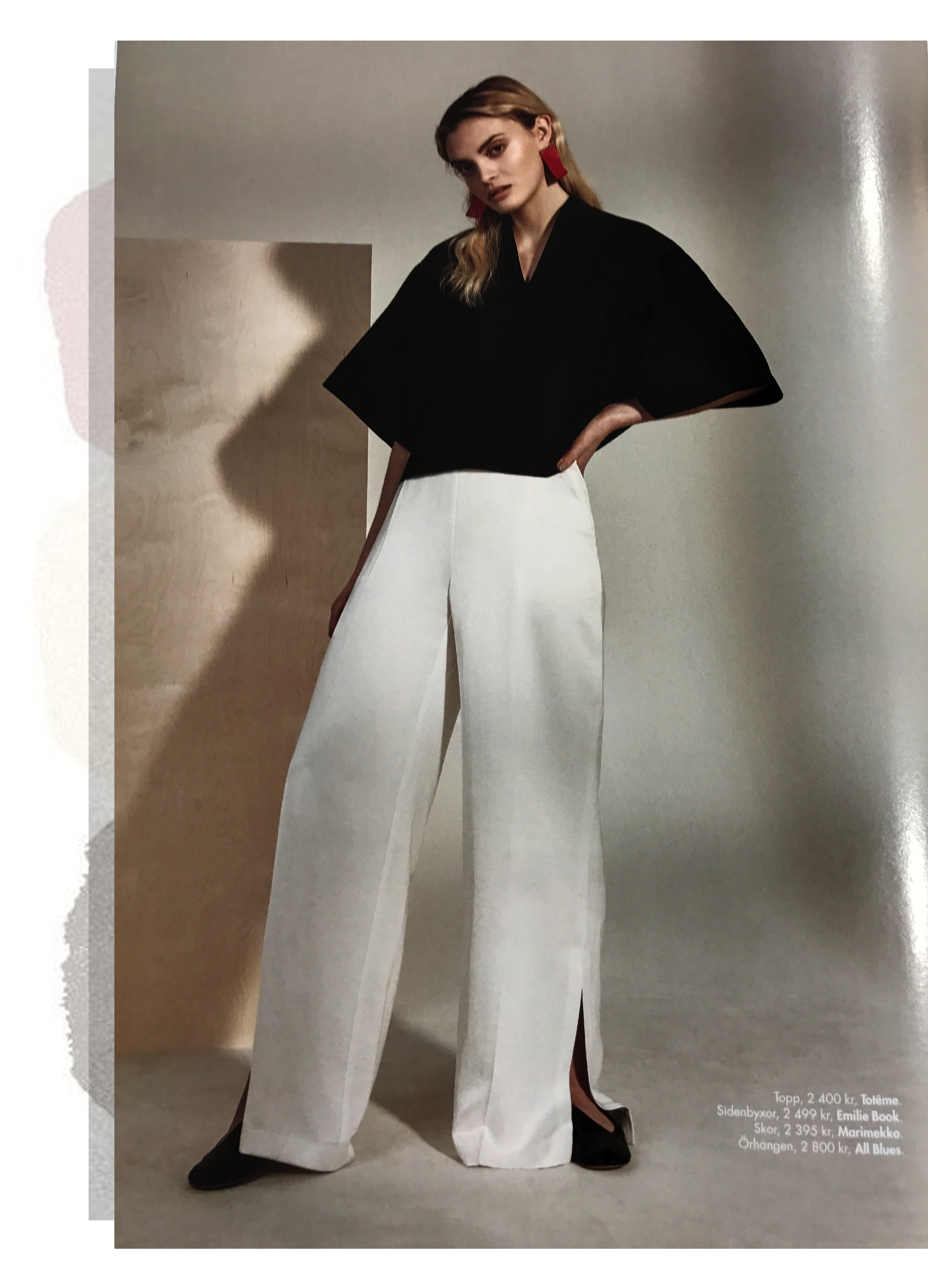 White pants featured in Plaza Kvinna February 2019