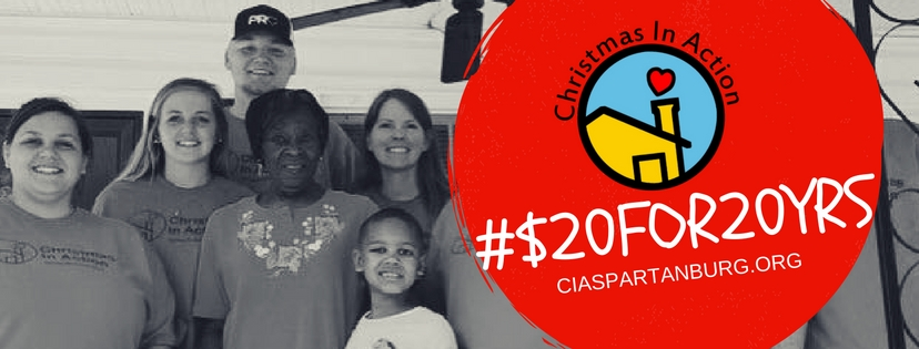"""Help your neighbors tomorrow on November 29, 2016 with #GIVINGTUESDAY as we support Christmas In Action with #$20FOR20YRS! A yearly event, #GivingTuesday is focused on the global impact of giving socially. With #$20FOR20YRS, Christmas In Action aims to help forward fund a future ReBuild programs planned for 2017.      To achieve this goal, the organization is asking for donations that are at least $20 during November 29th to aide our many ReBuild programs that would allow someone to have a new roof, flooring or a wheelchair ramp along with improvements to the Christmas In Action warehouse that stores materials for future projects.      """"Our various ReBuild programs are a great opportunity for the community to see tangible change with their donor dollars,"""" said executive director Amanda Mathis. """"With over 1,600 individuals living in unsound housing in Spartanburg County, donors can be assured that their dollars will stay local.""""      All of the donations received will go towards our Christmas In Action ReBuild program. Donate can be received online at   www.ciaspartanburg.org  or by contacting us: Christmas In Action, P.O. Box 5852, Spartanburg, SC, 29306 or  864-576-7101 .     More about Christmas In Action   Christmas in Action is a 501(c) (3) nonprofit organization whose mission is to rehabilitate the houses of low-income, elderly, disabled, and otherwise disadvantaged homeowners, to provide for their continued safety and independence."""