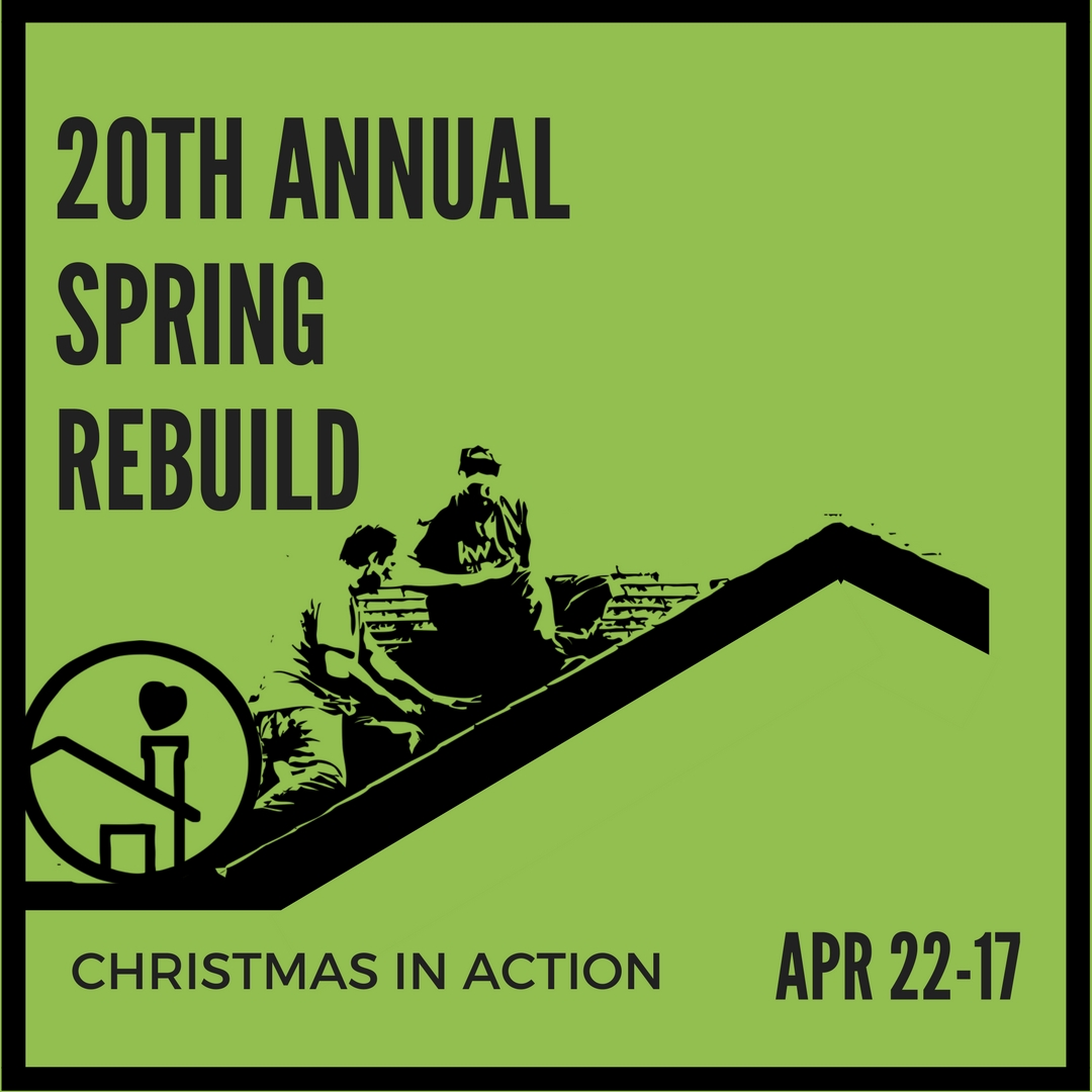 We're celebrating 20 years of service to the Spartanburg community! Join us for our 20th Annual Christmas In Action ReBuild Day planned for Saturday, April 22, 2017! This day bring out hundreds of volunteers to help our fellow neighbor as we work on homes in the City of Spartanburg.  Past repairs have included but are not limited to: wheelchair ramps, toilets, floors, roofs, porches, scraping and painting, and general clean up.  We are in special need of skilled electricians and plumbers.  Make a difference today by organizing a volunteer team for our ReBuild and make an IMPACT on your fellow neighbors. For more information, please contact our office at 864-576-7101 or email Amanda Mathis at amathis@ciaspartanburg.org. Deadline for TEAM sign-up is March 14, 2017.