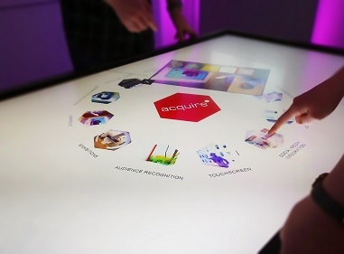 Create something unique by using a touch table top format.