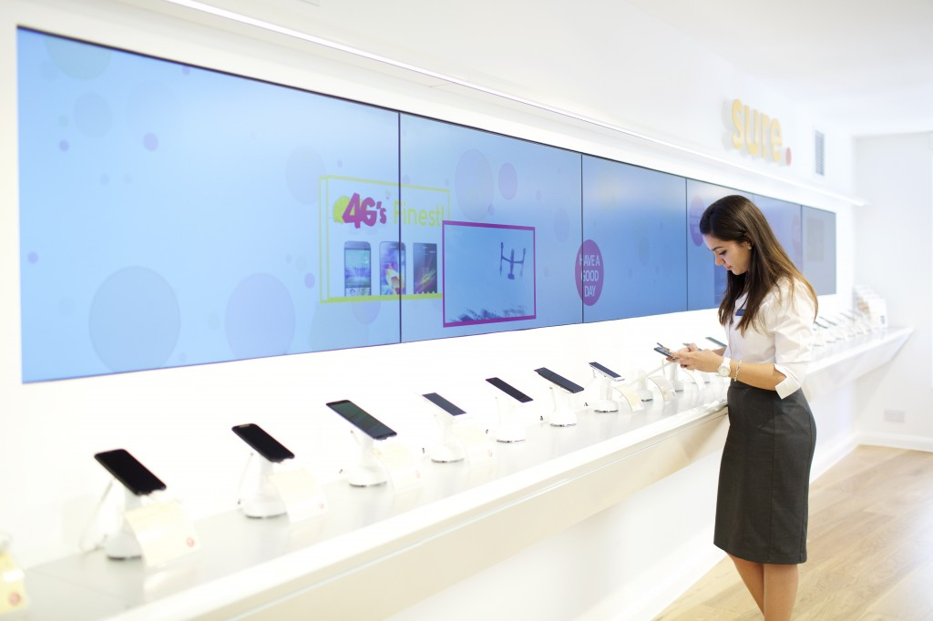The video wall wraps the interior of the store creating an immersive experience.