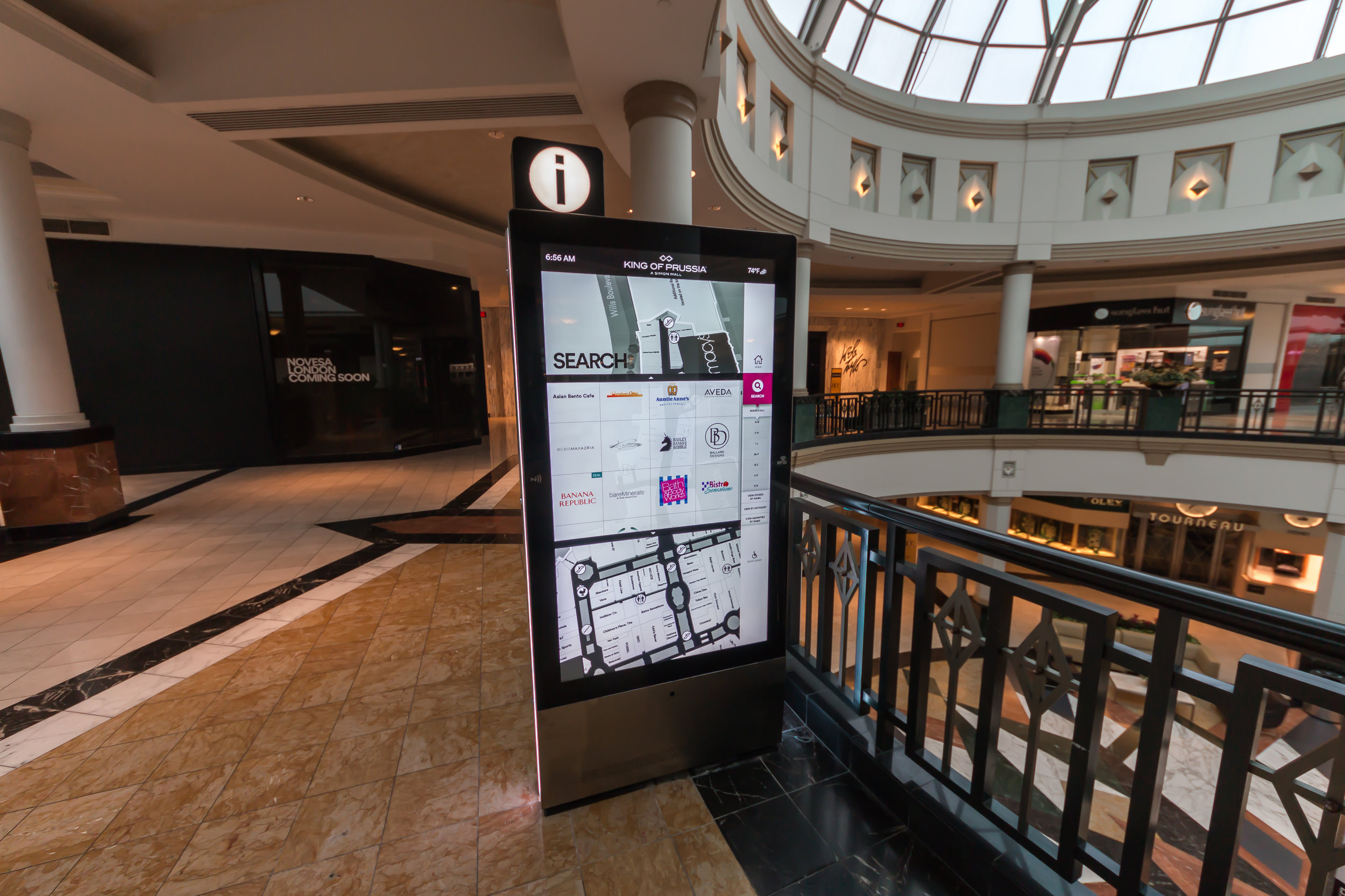 A universal search allows for a quick search of stores, dining options and services.