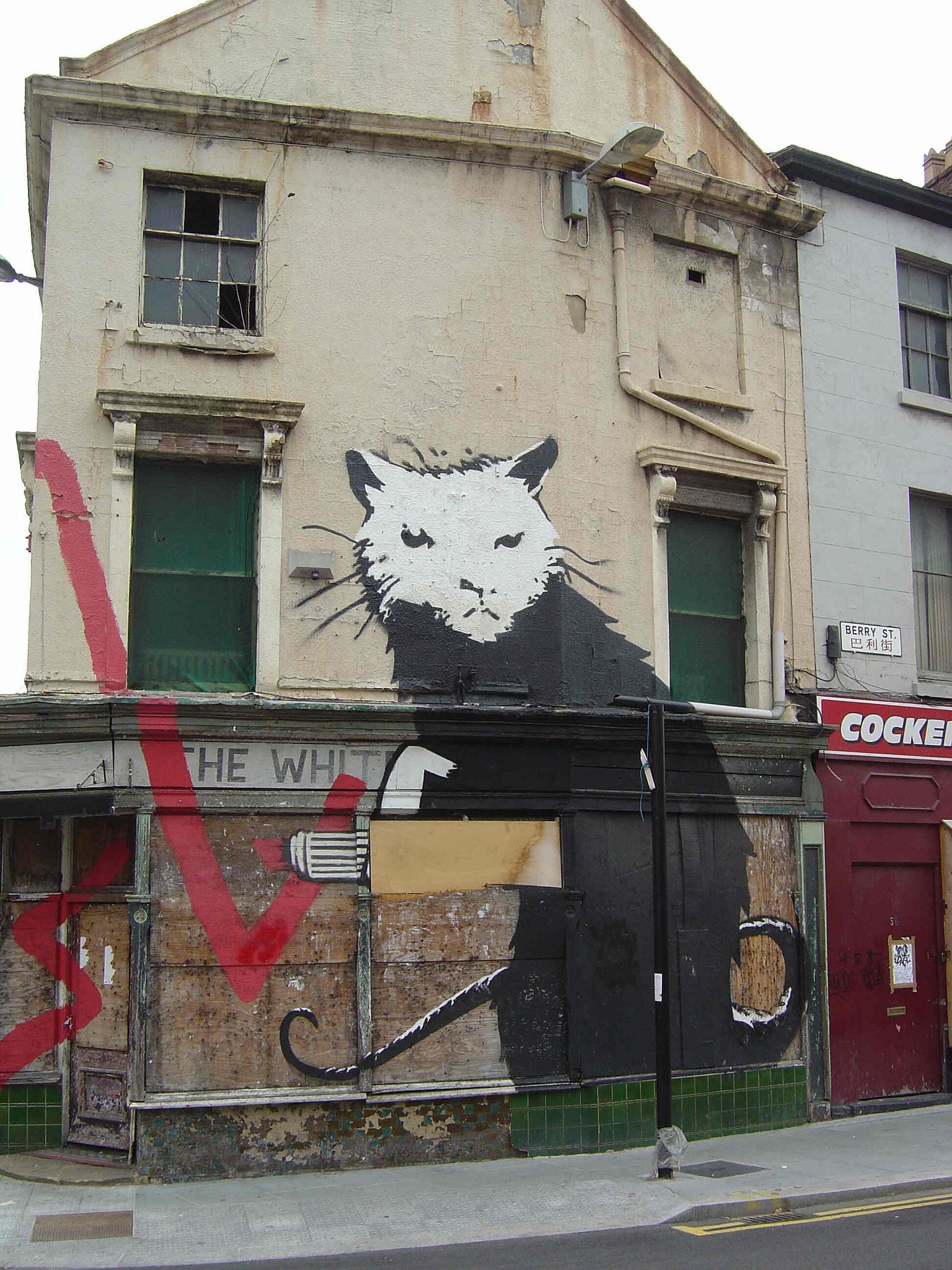 Artwork in Liverpool by Banksy.