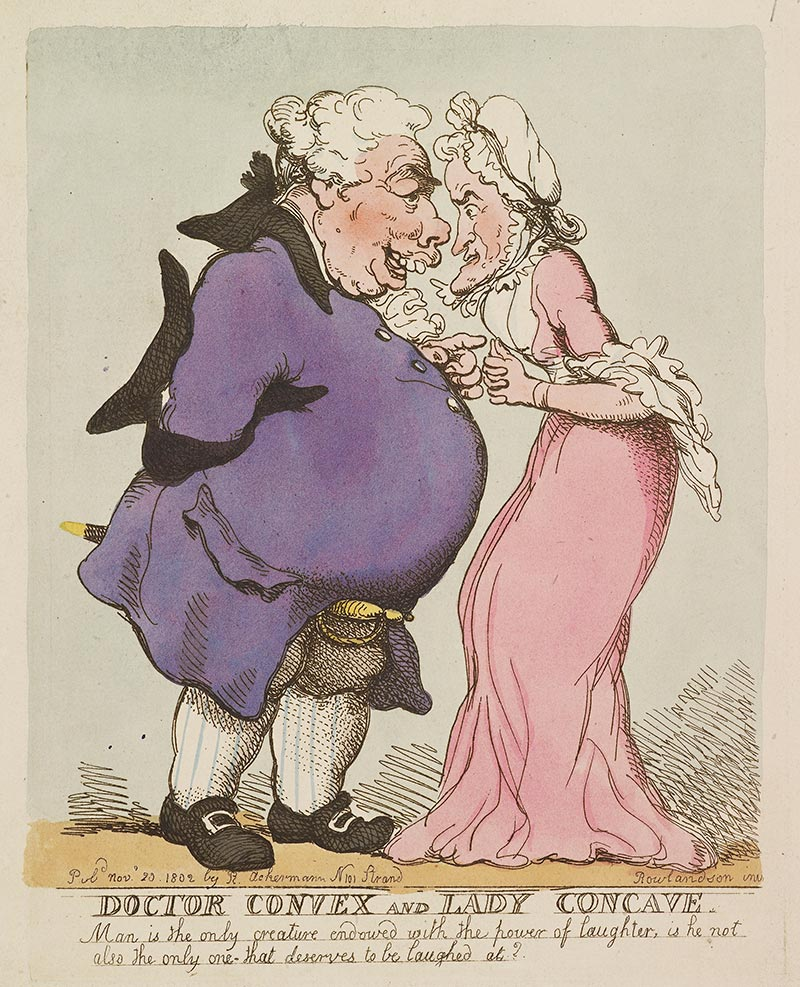 Thomas Rowlandson - Doctor Convex and Lady Concave. Etching with hand-colouring | 29.9 x 22.9 cm (sheet of paper) | Royal Collections Trust.