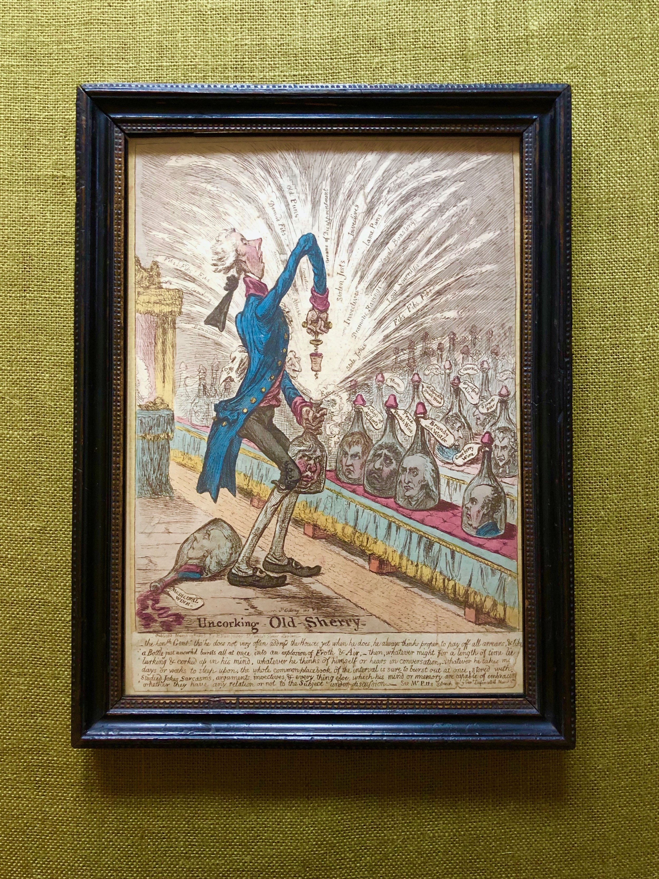 James Gillray (1756-1815) Uncorking Old-Sherry- etching with hand-colouring, 1805, on wove paper, published on March 10th 1805 by H. Humphreys, London, trimmed to or just into the platemark, minor defects.