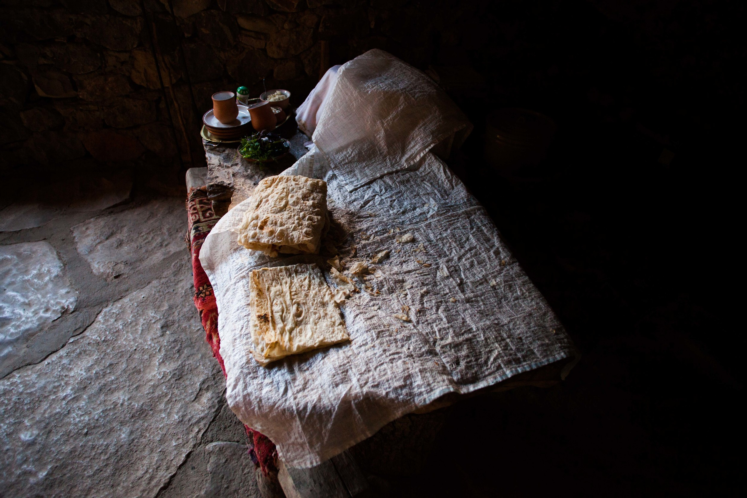 Fresh-baked lavash, Armenia's most popular bread, cools down before being served at Vardges's Cave Restaurant in Noravank.