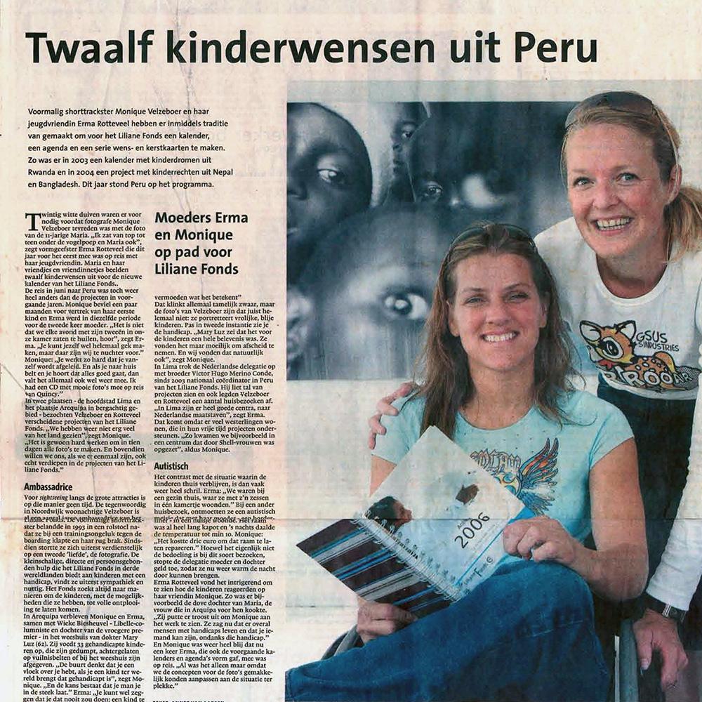 Twaalf kinderwensen uit Peru  Leidsch Dagblag  01-10-05