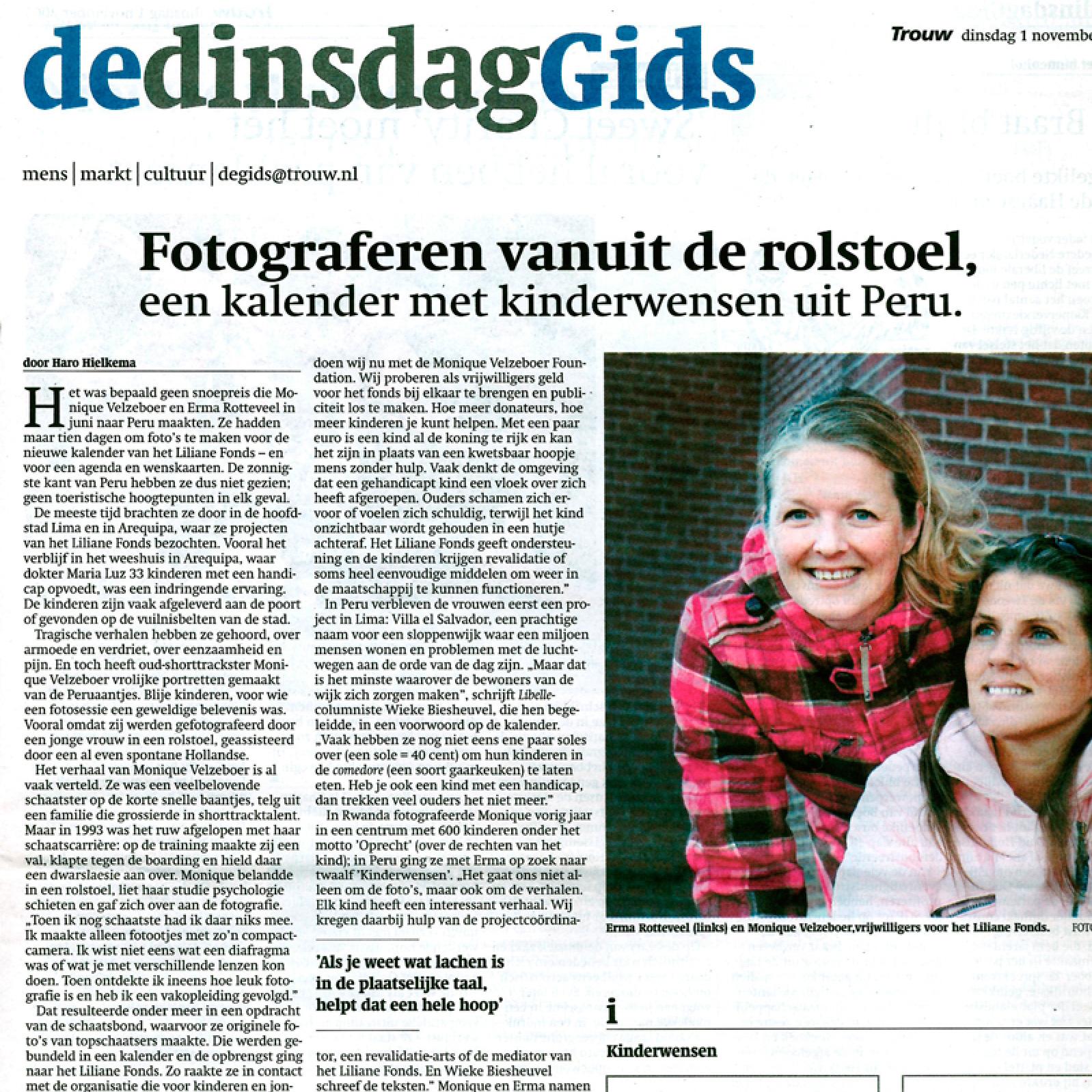 Fotograferen vanuit de rolstoel  Trouw  01-11-05