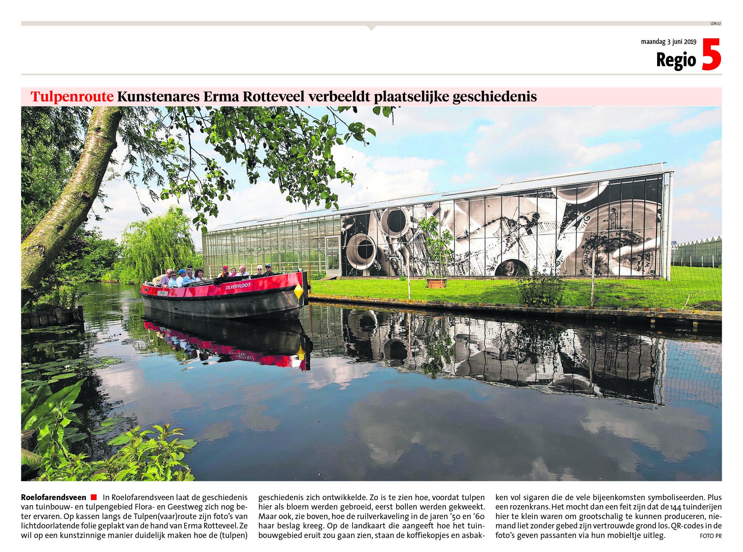 Windkracht 10 in het Leidsch Dagblad met de foto's op de Tulpenroute