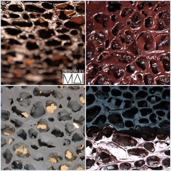 examples of finish of aluminium foam Grid pendant lights form Design by Mai