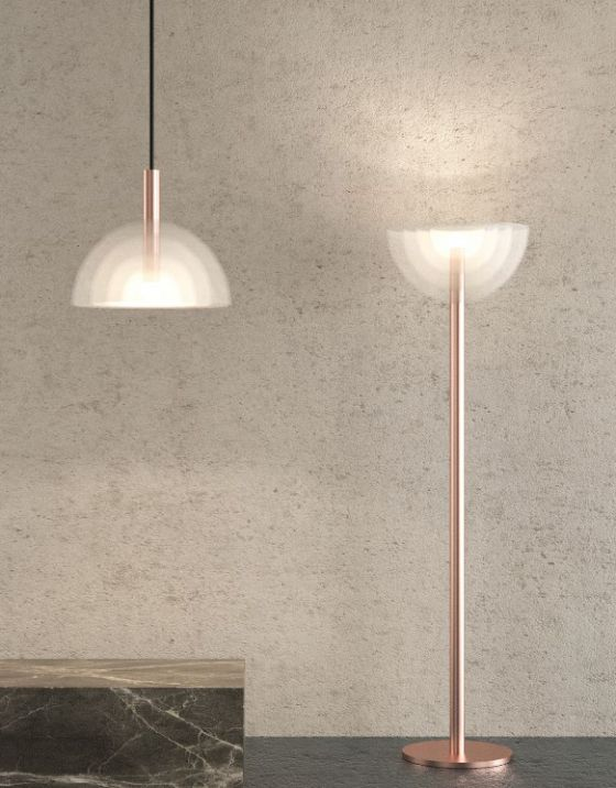 Carlo Nason LT338 pendant and floor lights re-issued by Mazzega1946