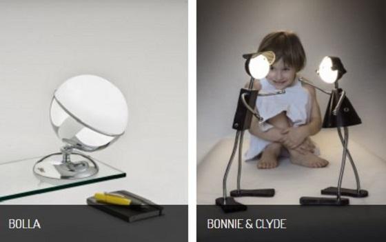 Anna Lari Bolla and Bonnie & Clyde cordless table lights