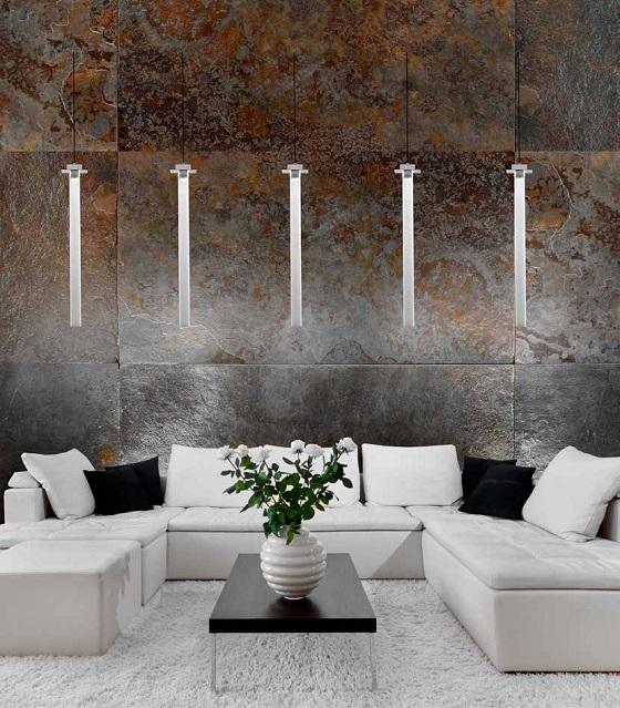 A row of Vetrart Skyline glass pendant lights