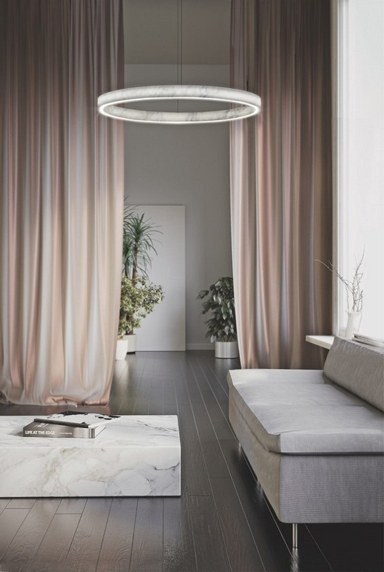 bInarchi Light Beam Circle carrara marble ring pendant light