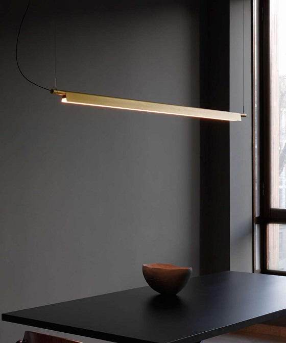 Luceplan Compendium brass linear pendant light