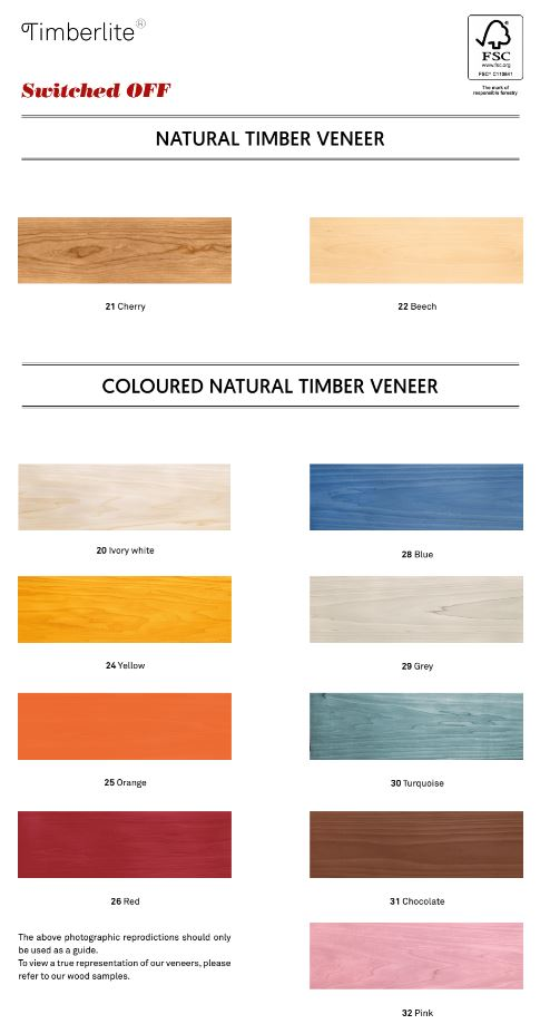 Timberlit colour chart lights off