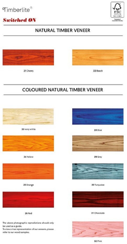 Timberlite colour chart lights on