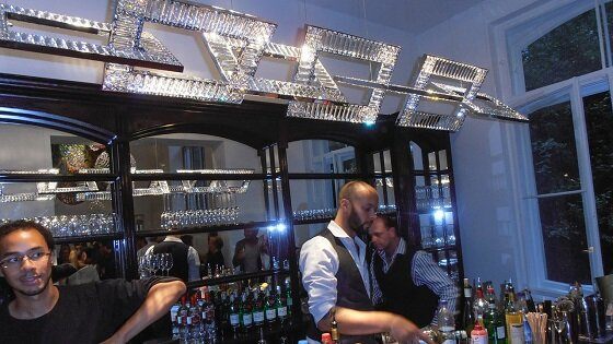 Windfall Jewel 2 crystal installation in a bar