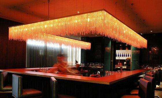 Windfall crystal installation with coloured LED light