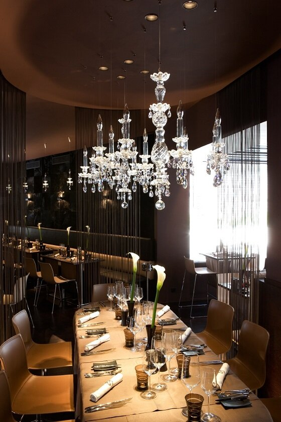 Windfall Balance crystal chandelier installation