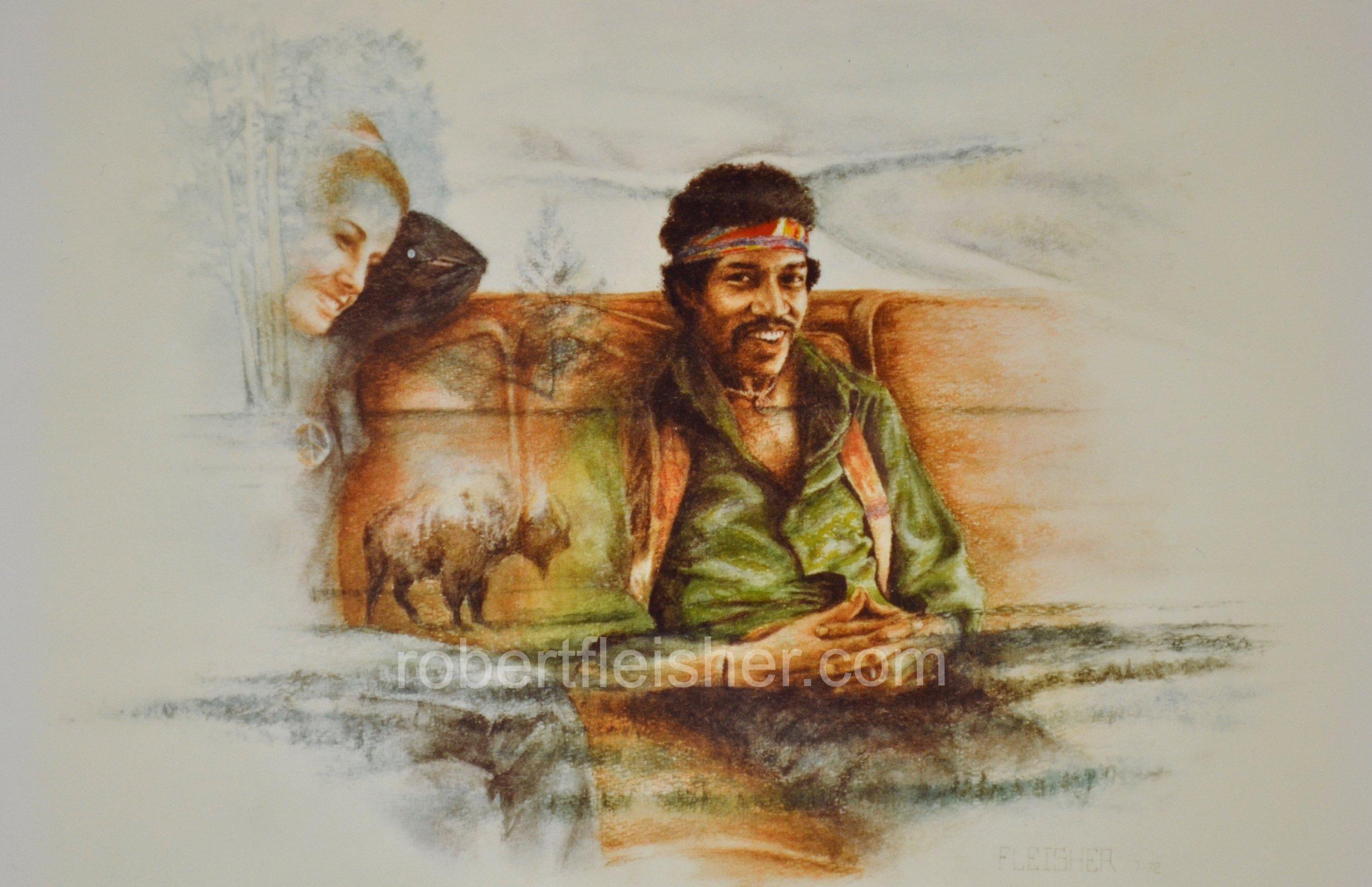 Jimi Hendrix   1972   18 x 12   watercolor