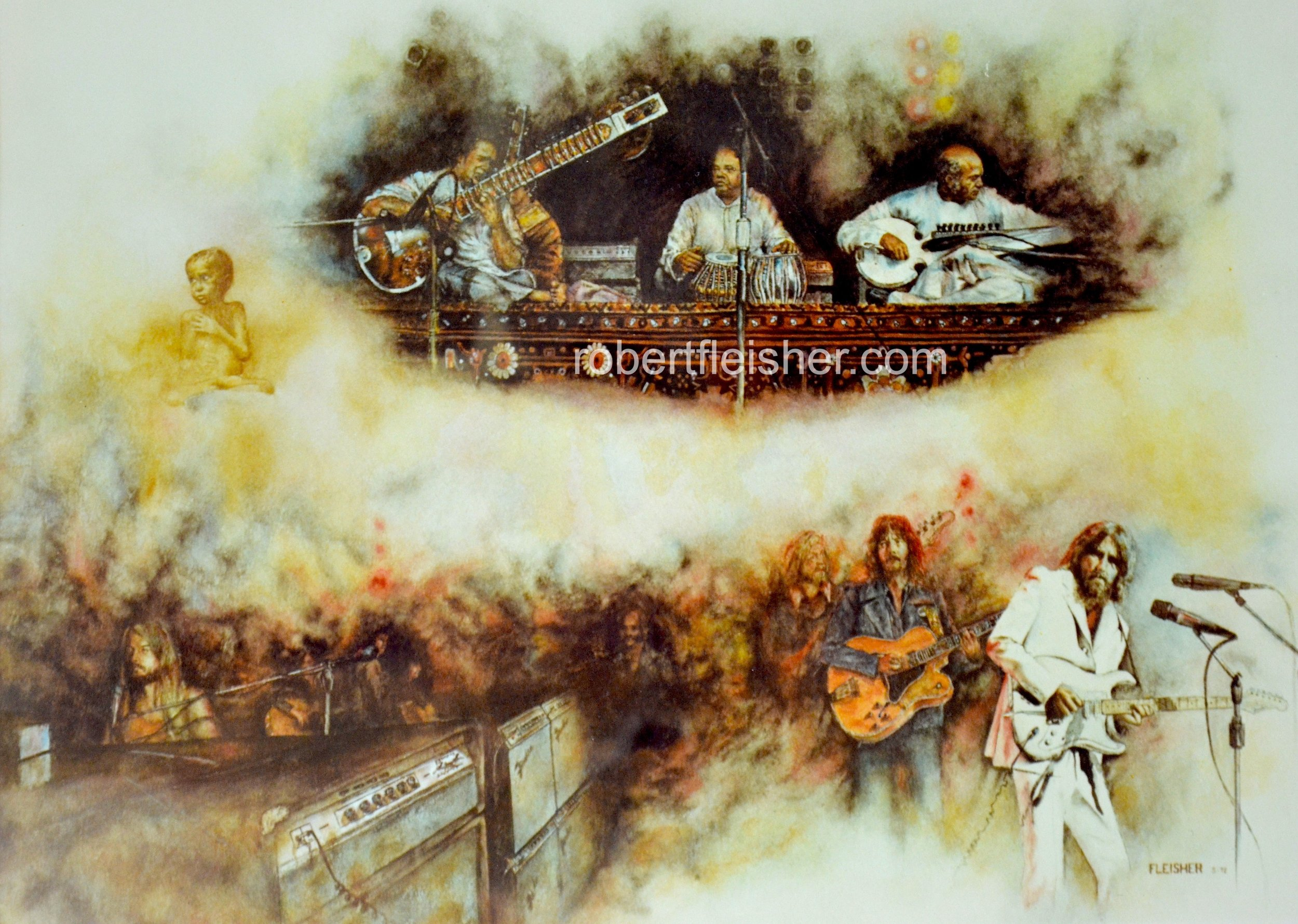 Concert For Bangladesh   1972   30x24   watercolor
