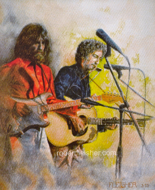 George Harrison, Bob Dylan  1973  14x12  watercolor