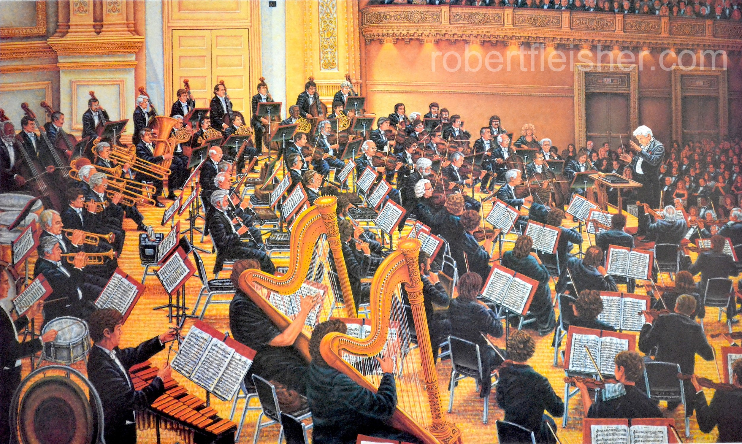 Orchestra at Carnegie Hall with Leonard Bernstein  1989-1993  50x30  oil on canvas