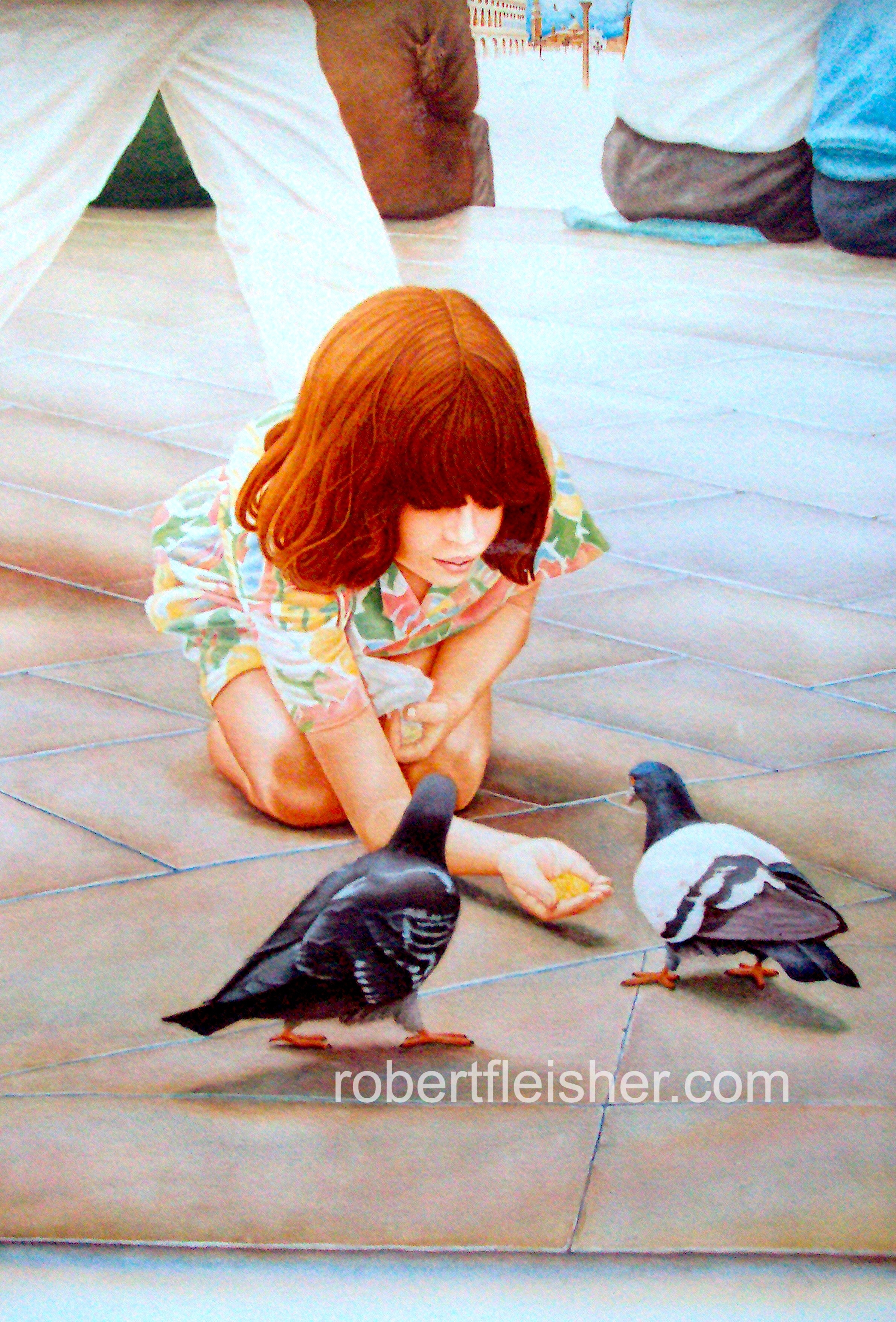Girl with Pigeons    1988   40x30  watercolor