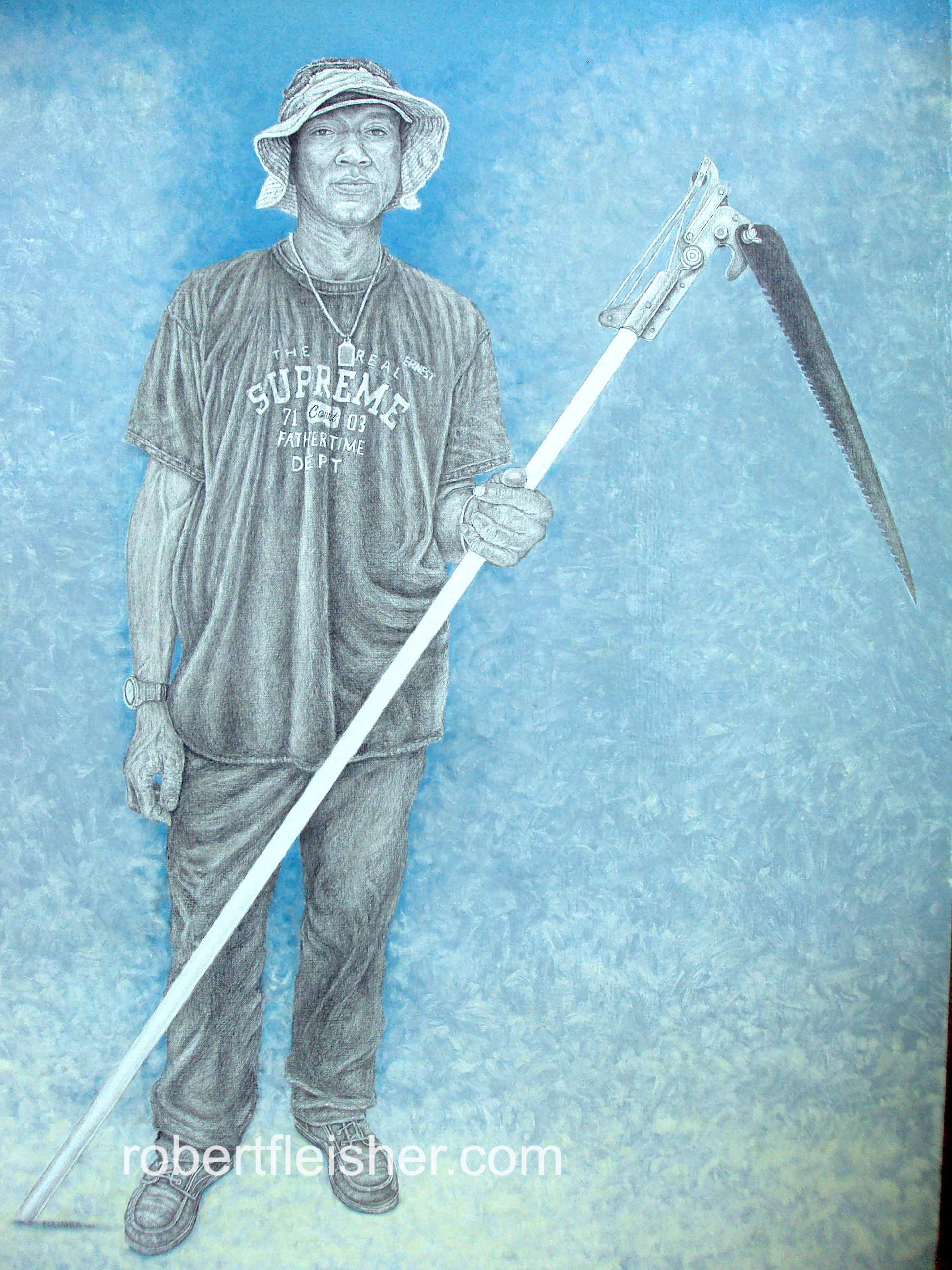 Fathertime, The Real Supreme Court   2013  40x30  Graphite/oil on canvas