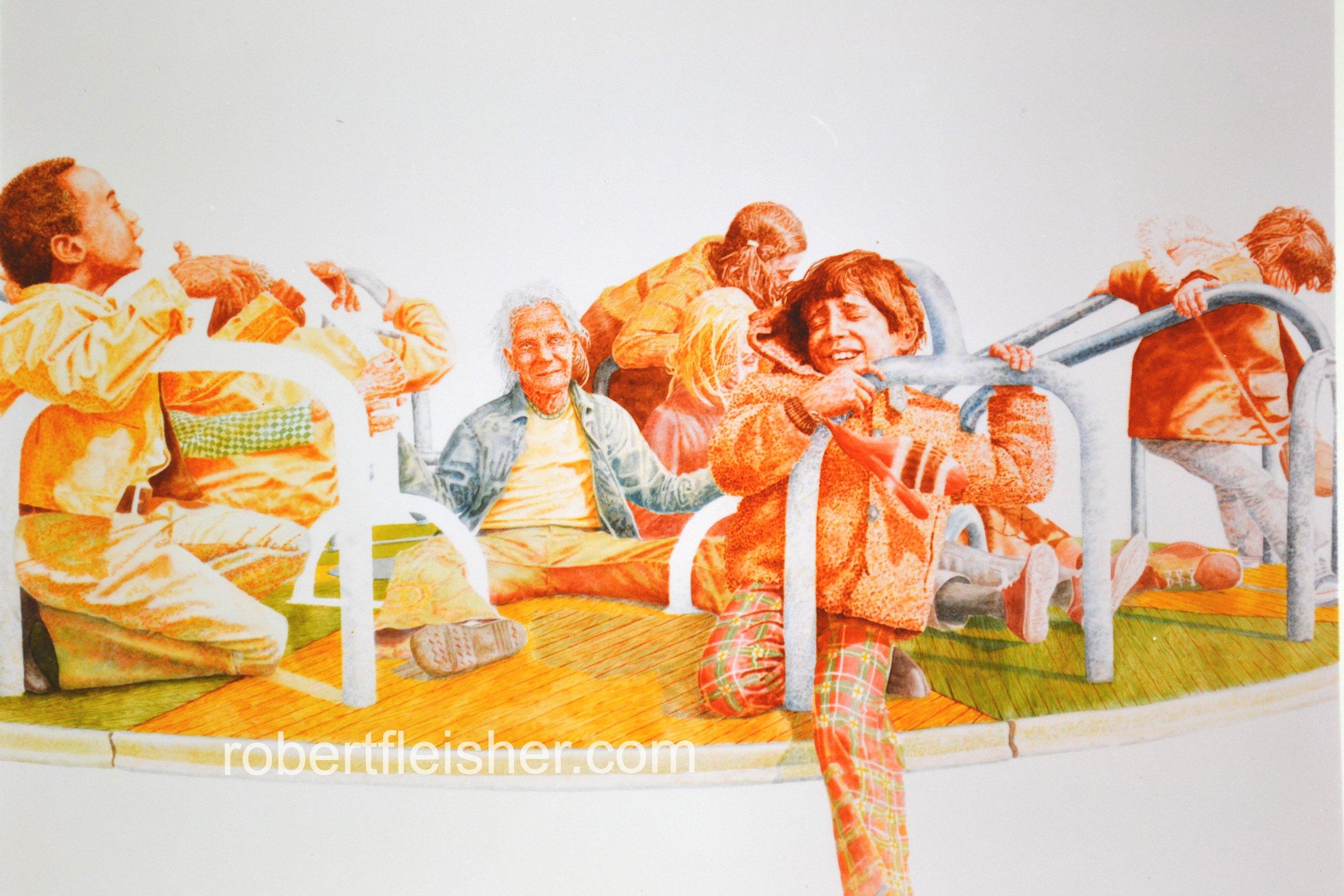 Merry-Go-Round   1974   40x30   watercolor