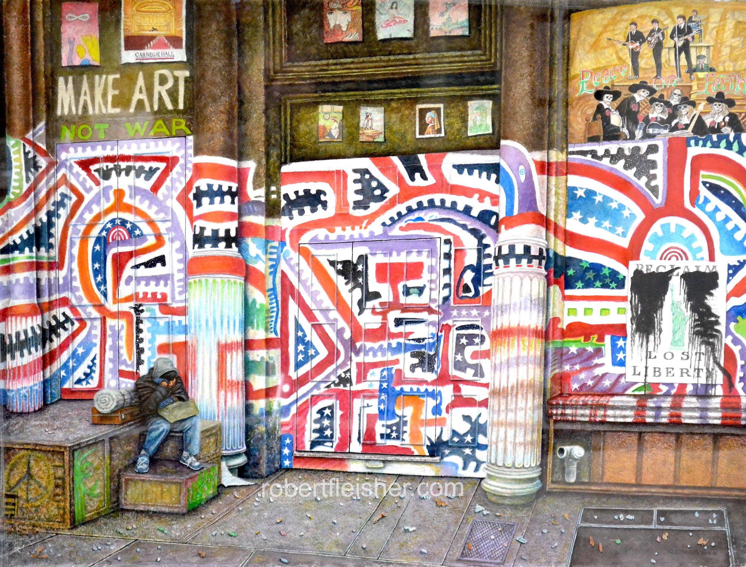 Make Art Not War   2008   30x22   watercolor