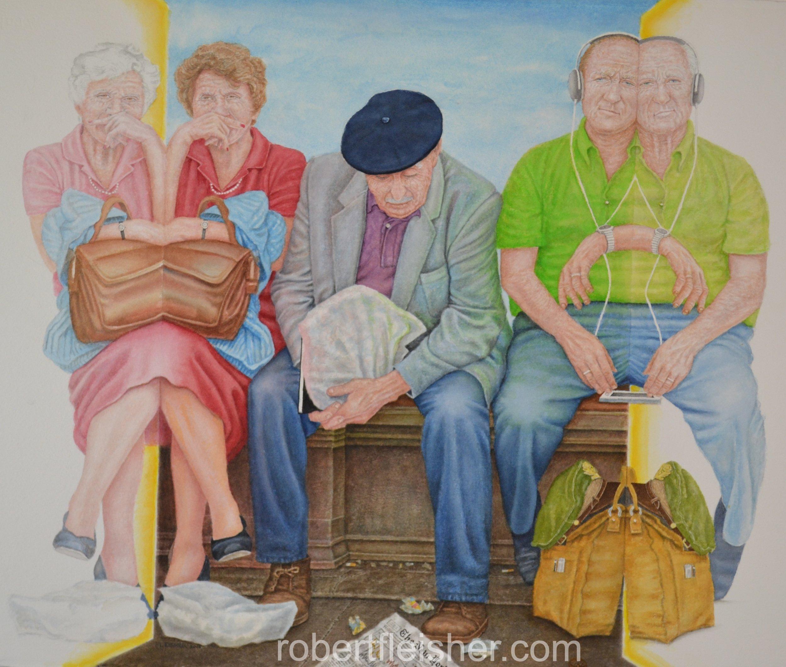 Speak, See, Hear No Evil   2015   30x22   watercolor