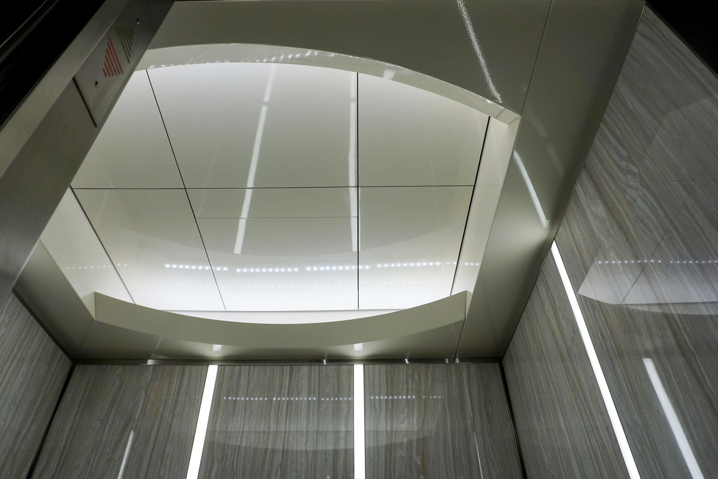 Ceiling: Existing ceiling painted in Benjamin Moore Semi Gloss Paint