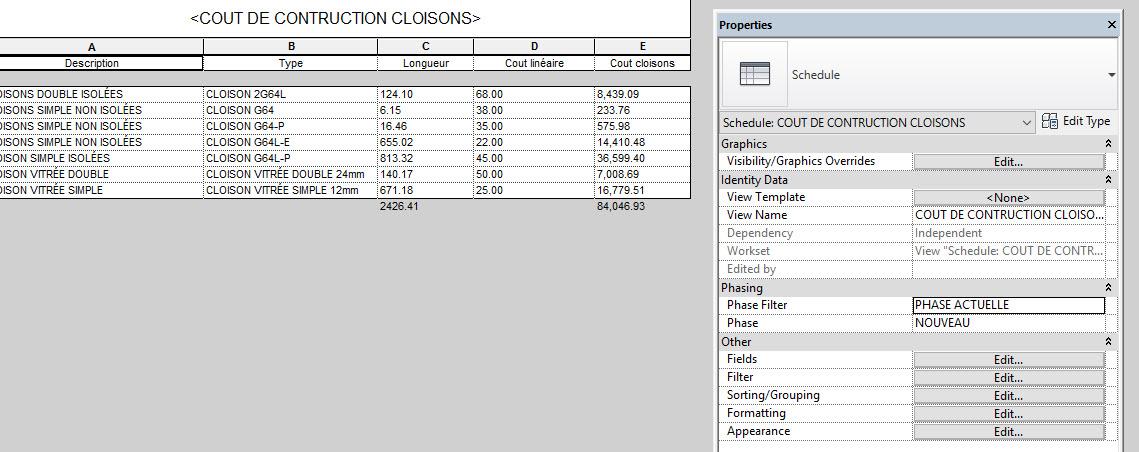 """Les coûts par phase sont gérés dans la propriété du tableau sous """"Phasing"""" et les coût par option sont sous """"Edit Type"""""""