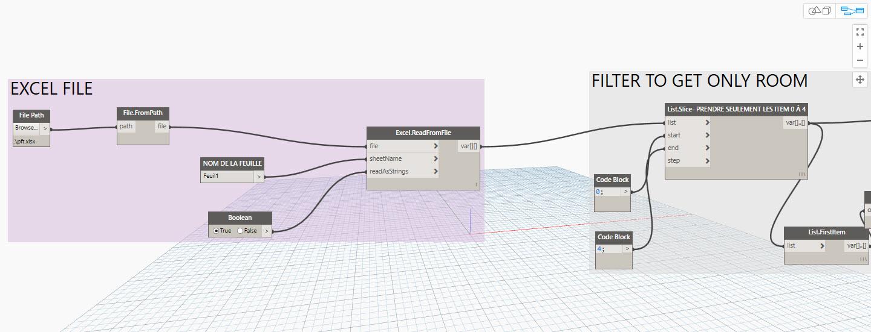"""de Dynamo créer un lien vers le fichier Excel et sa feuille (ici """"Feuil1"""")"""