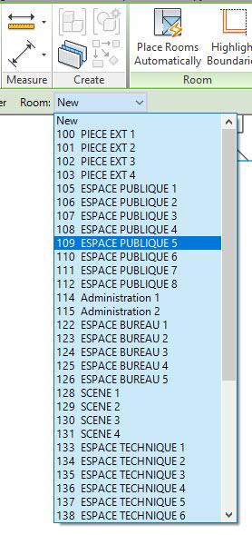 Au lieu de créer les pièces une par une, ils sont maintenant disponible dans la liste Revit.
