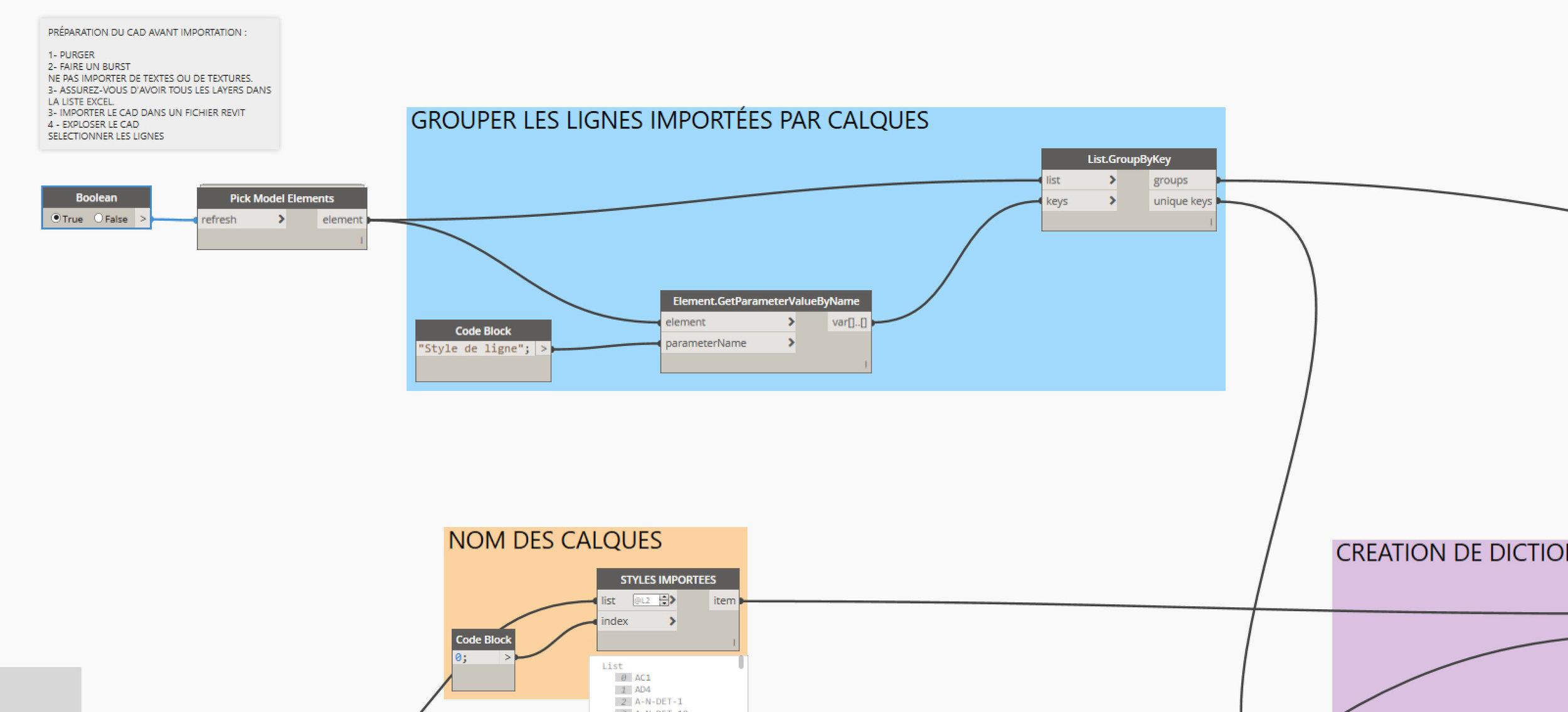 2. ici nous allons présélectionner les lignes importées à convertir, tout regroupant les lignes par leur style de ligne CAD.