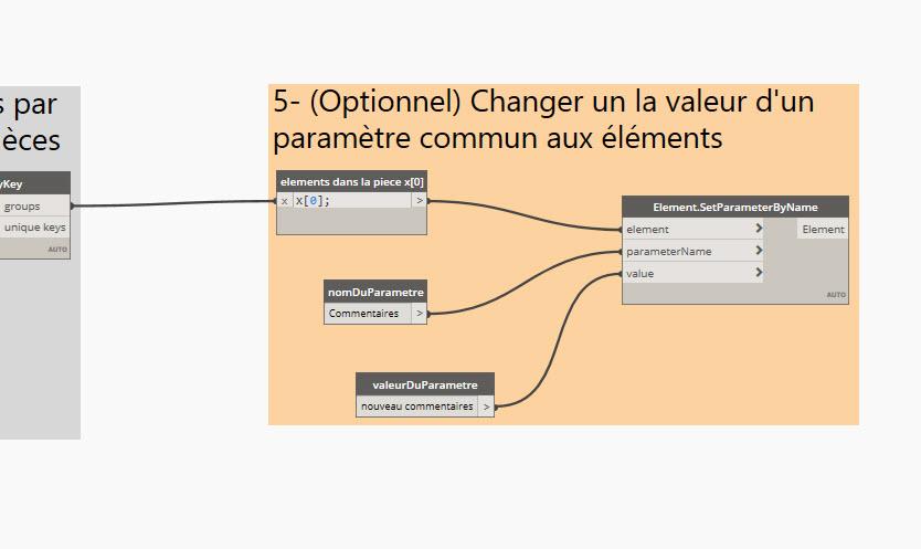 ici j'ai décidéde sélectionner seulement les objets dans la première pièce de la liste (le x[0] récupère cela ). Le noeud Element.SetParameter change la valeur du paramètre pour tous les éléments de la pièce sélectionnée.